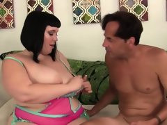 Chubby beauty alexxxis allure rides a..