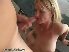 Curvy blonde lady has a deep throat