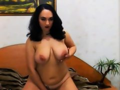 Thick slut masturbates with her toy