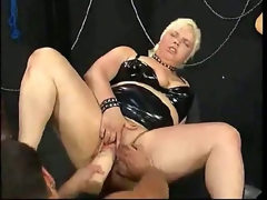 Hard dildo ramming and fisting with..