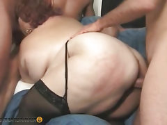 Oily babe fucking with men