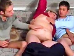 Busty mature whore fucks with two hung..