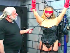 Alluring tied babe being impaled and..