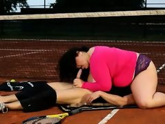 Tennis teacher gets hig face smothered..