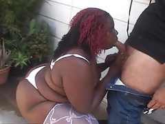 Bbw gets her fat black pussy drilled