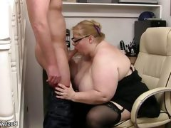 Blonde bbw mature gets banged deep and..