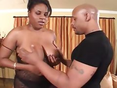 Big ebony babe takes hard cock and fist