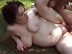 Fatty milks cow and cock outdoors