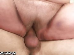 Bbw rides a young guy's cock for his..