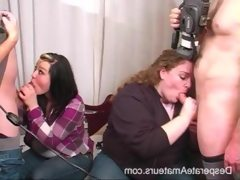 2 girls suck off guys after a amateur..