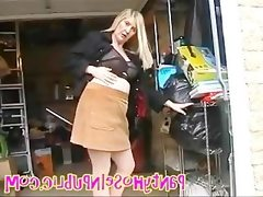 Hot pantyhose housewife in public..