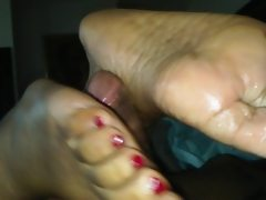 First footjob ebony red toes cumshot