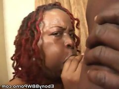 Ebony bbw works her mouth on a cock