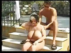 Chubby bbw girl fucks outdoor
