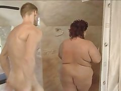 Bbw-milf fucks the young gardener