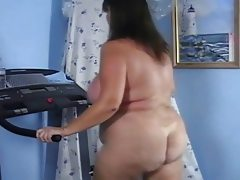 Mature butt naked big ass treadmill..