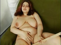 Fat chubby playing with hairy pussy..