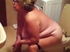 Spy cam grandma in bathroom